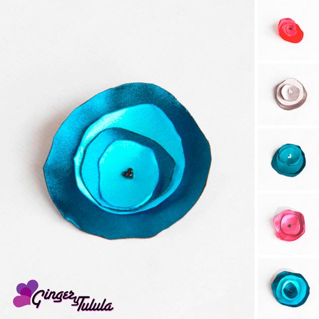 Broche de raso en diferentes colores con tul | gingerytulula.com