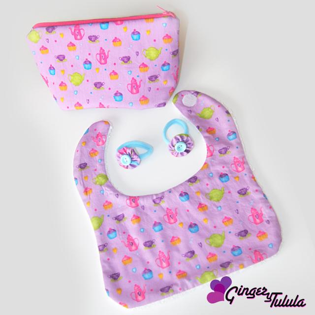 Conjuntos recién nacido: babero, coletero y neceser | gingerytulula.com