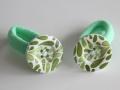 Coletero con botón color verde y estampado de hojas | gingerytulula.com