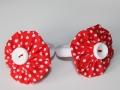 Coletero con forma de flor en tela color roja con lunares | gingerytulula.com