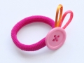 Coletero rosa con botón y adorno de cola de ratón | gingerytulula.com