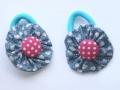 Coletero botón rosa de lunares y tela de corazones azul | gingerytulula.com