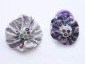 Coleteros morados con tela estampada y botón de tela de lunares | gingerytulula.com