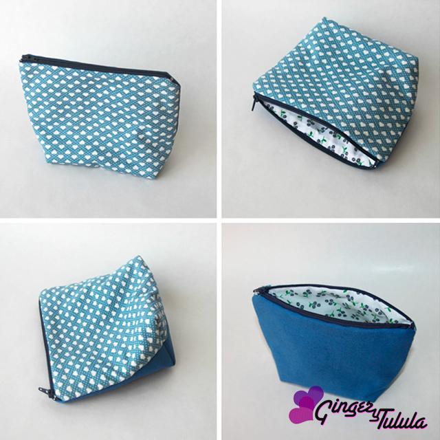 Neceser de tela color azul con cremallera, tiene doble vista | gingerytulula.com