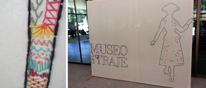 Día de tejer en público en el Museo del Traje. Detalle del panel de Dior con bordado de Yolanda Andrés
