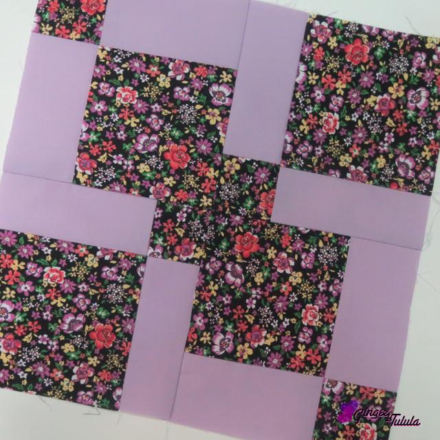 bloque de patchwork antes de acolchar