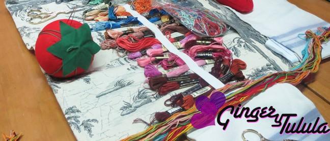 hilos multicolor para bordar a mano en el taller de bordado de Yolanda Andrés
