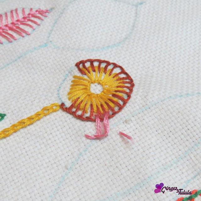 muestra festón taller de bordado básico de Yolanda Andrés
